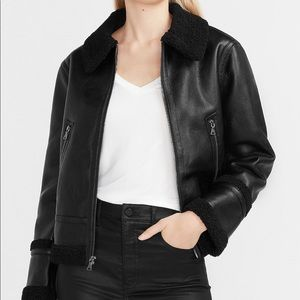 Vegan leather jacket with shearling collar